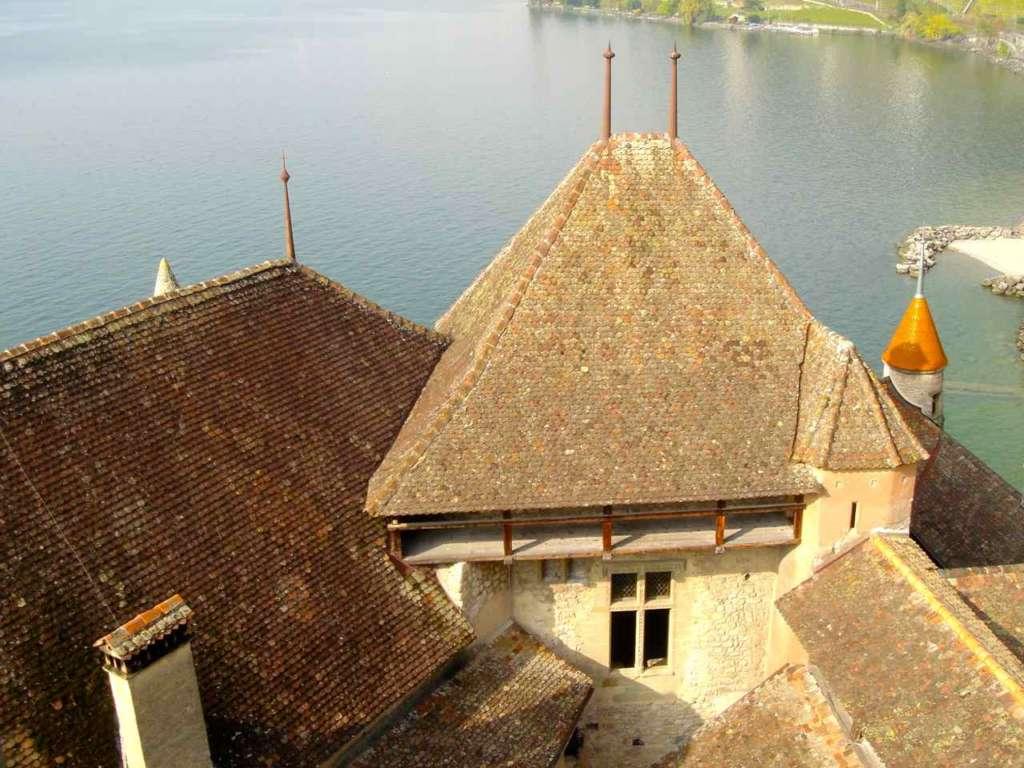 Tejados Castillo de Chillon, Veytaux, Suiza.
