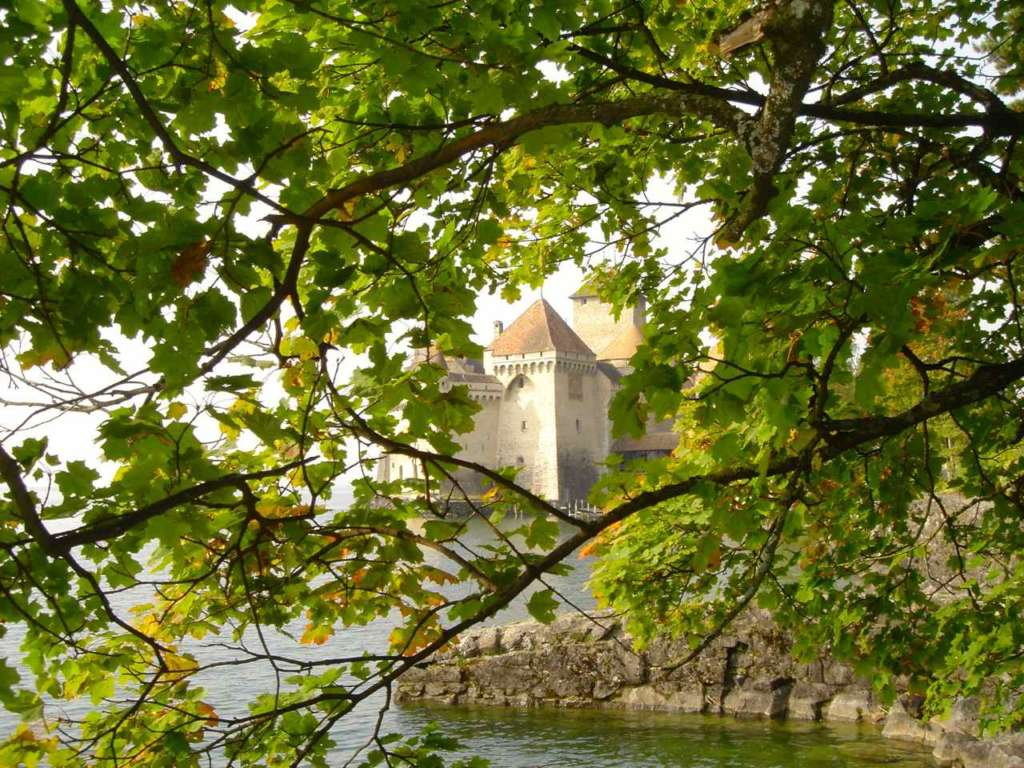 Castillo de Chillón entre ramajes de árbol