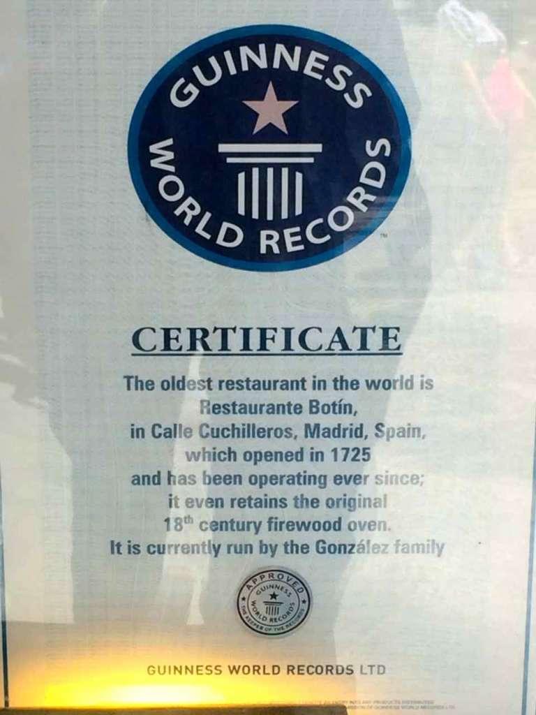 Certificado del libro Guinness de los records de restaurante más antiguo del mundo