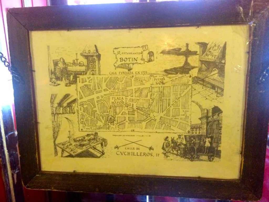 Cuadro de mapa antiguo donde figura la Plaza Mayor y alrededores